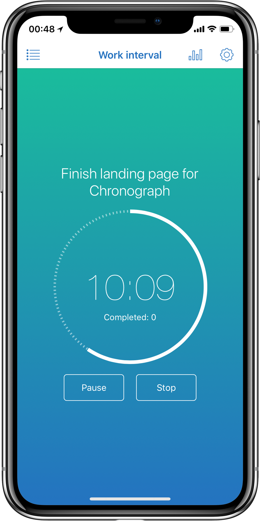 Chronograph app screenshot